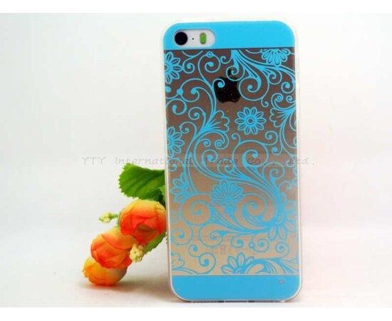"""Чехол """"Узор"""" силиконовый для iPhone 5/5S/SE голубой"""
