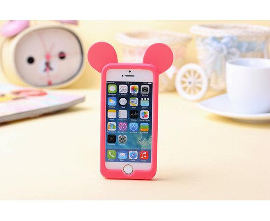"""Резиновый бампер """"Микки Маус"""" ярко-розовый для iPhone 4/4S"""