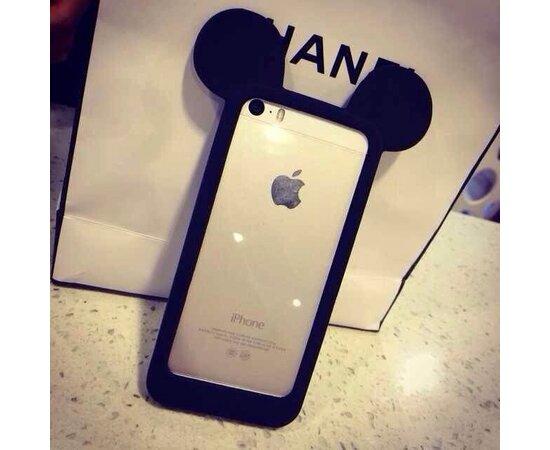 """Резиновый бампер """"Микки Маус"""" черный для iPhone 5/5S/SE"""