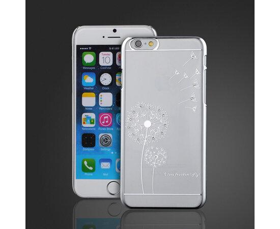 """Чехол со стразами """"Одуванчик"""" пластиковый для iPhone 6/6S серебро"""