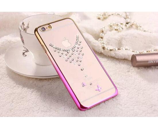 """Чехол со стразами """"Колье"""" пластиковый для iPhone 6/6S розово-золотой"""