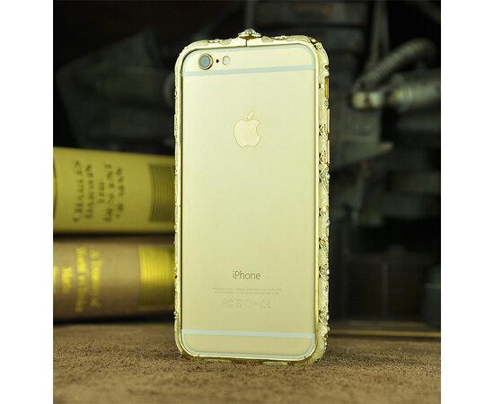 Золотой алюминиевый бампер со стразами для iPhone 6/6S