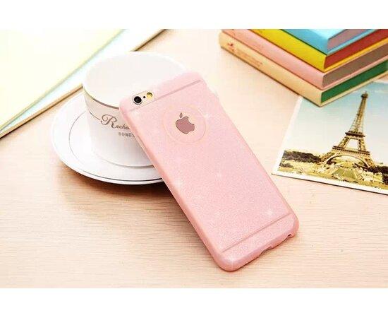 Силиконовый ультратонкий розовый чехол с блестками для iPhone 6/6S