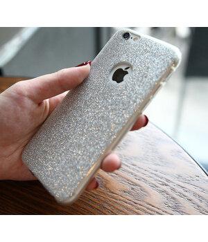 Силиконовый серебряный чехол с блестками для iPhone 7/8