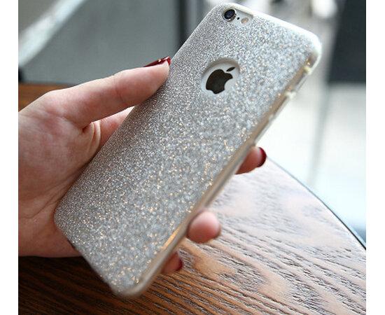 Силиконовый серебряный чехол с блестками для iPhone 6/6S