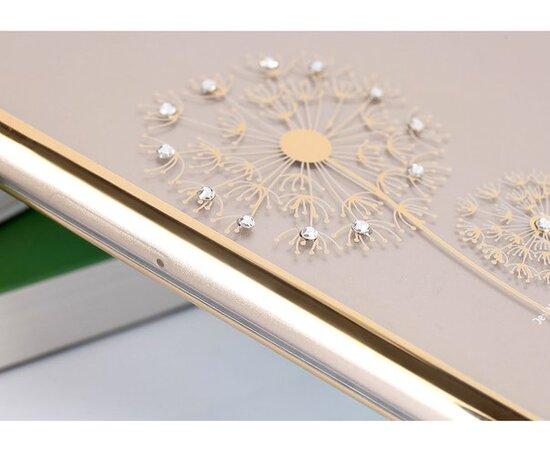 """Чехол """"Одуванчик"""" пластиковый для iPhone 5/5S/SE золотой со стразами"""