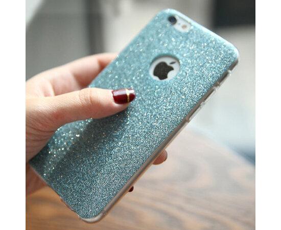 Силиконовый бирюзовый чехол с блестками для iPhone 6/6S