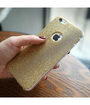 Силиконовый золотой чехол с блестками для iPhone 6 Plus/6S Plus