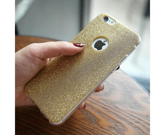 Силиконовый золотой чехол с блестками для iPhone 6/6S