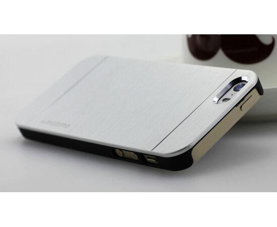 """Чехол """"Motomo"""" серебряный с алюминиевой задней крышкой для iPhone 5/5S/SE"""