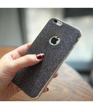 Силиконовый черный чехол с блестками для iPhone 6 Plus/6S Plus