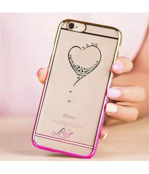 """Чехол со стразами """"Сердце"""" пластиковый для iPhone 6 Plus/6S Plus розово-золотой"""