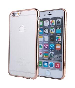 Силиконовый золотой чехол прозрачный для iPhone 6/6S