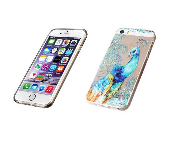"""Чехол """"Павлин"""" силиконовый для iPhone 5/5S/SE"""