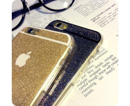 Золотой силиконовый чехол с блестками для iPhone 6/6S