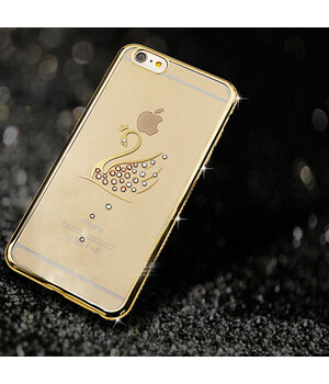 """Чехол со стразами """"Лебедь"""" силиконовый для iPhone 6 Plus/6S Plus золотой"""