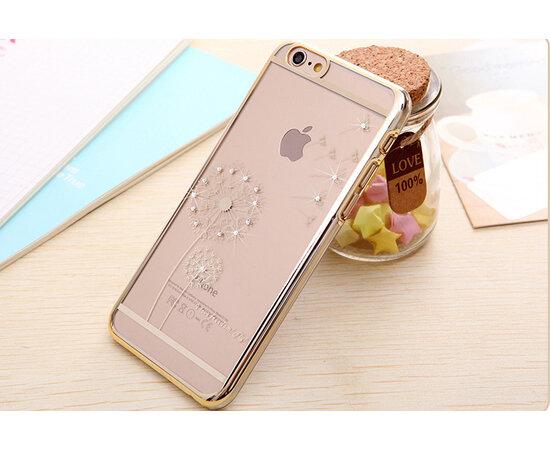 """Чехол пластиковый со стразами """"Одуванчик"""" золотой для iPhone 6 Plus/6S Plus"""