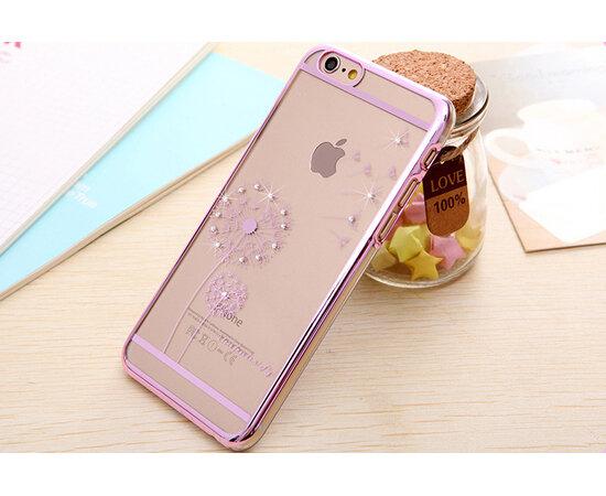 """Чехол """"Одуванчик"""" пластиковый для iPhone 6/6S розовый со стразами"""