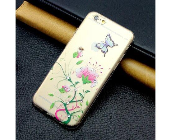 """Чехол со стразами """"Цветочный вьюн"""" силиконовый для iPhone 6 Plus/6S Plus"""