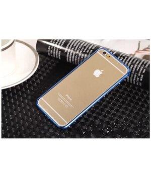 Алюминиевый ультратонкий синий бампер со стразами для iPhone 6/6S