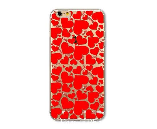 """Чехол """"Красные сердечки"""" силиконовый для iPhone 6/6S"""