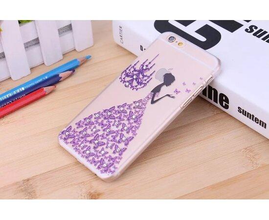 Чехол со стразами фиолетовый пластиковый для iPhone 6/6S