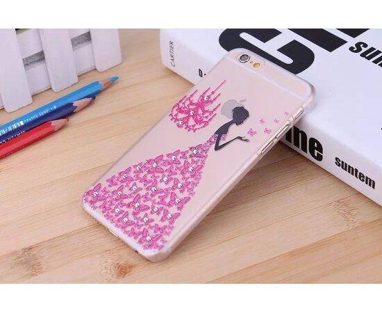 Чехол со стразами розовый пластиковый для iPhone 6/6S
