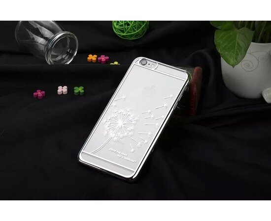 """Чехол """"Одуванчик"""" пластиковый для iPhone 6/6S серебро"""