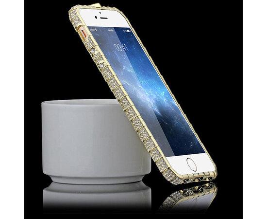 """Золотой алюминиевый бампер со стразами """"Блеск"""" для iPhone 6/6S"""