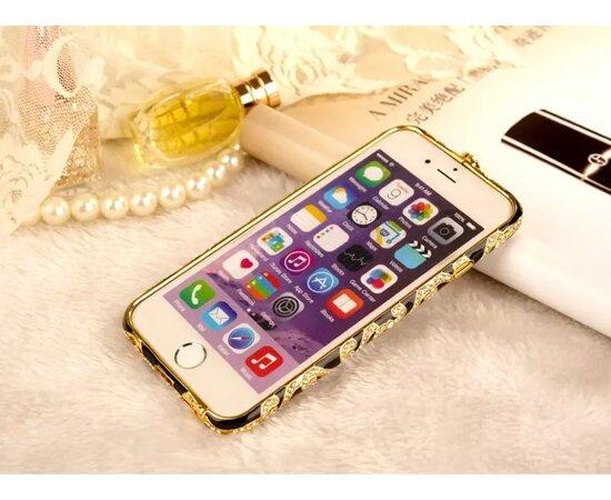 Черный алюминиевый бампер со стразами для iPhone 6/6S