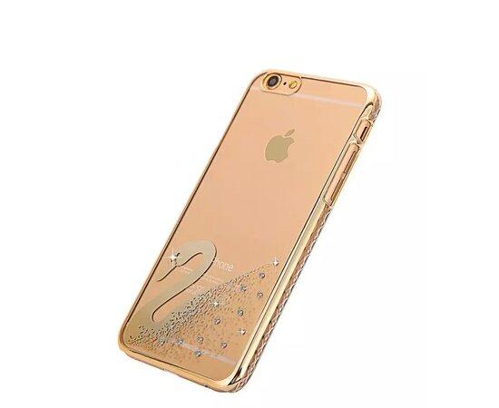 """Чехол """"Swarovski"""" пластиковый для iPhone 6/6S золотой со стразами"""