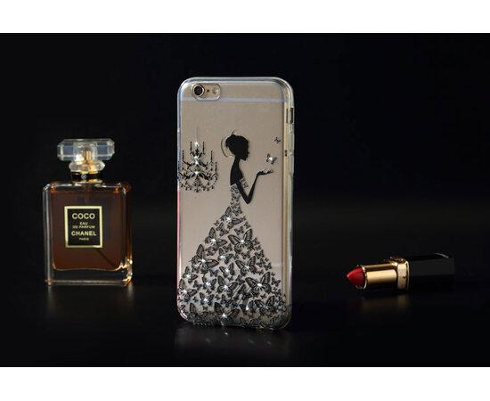 """Чехол со стразами """"Девушка в платье"""" силиконовый для iPhone 6/6S черный"""