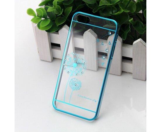 """Чехол со стразами """"Одуванчик"""" пластиковый для iPhone 6/6S бирюзовый"""