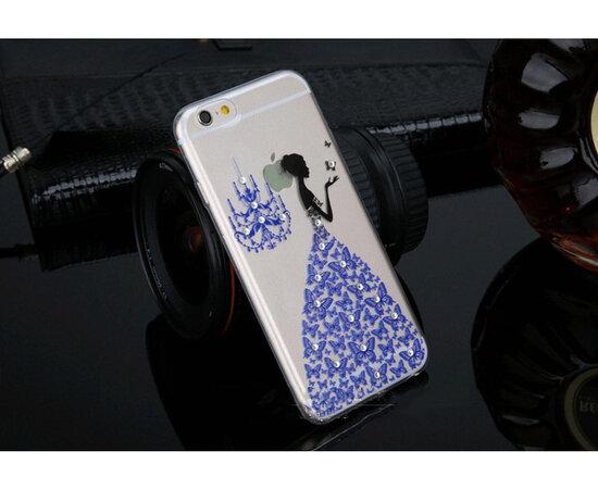 """Чехол со стразами """"Девушка в платье"""" силиконовый для iPhone 6/6S синий"""