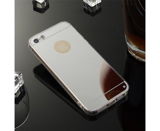 Серебряный силиконовый чехол с зеркальным эффектом для iPhone 5/5S/SE