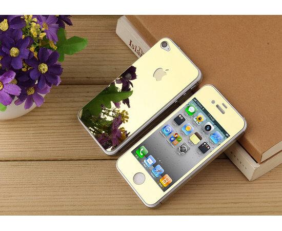 Переднее+заднее золотое стекло для iPhone 4/4S