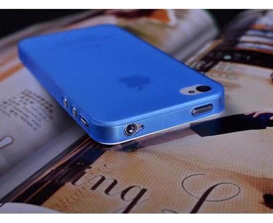 """Ультратонкий чехол """"Ultrathin 0.3mm"""" синий для iPhone 4/4S"""