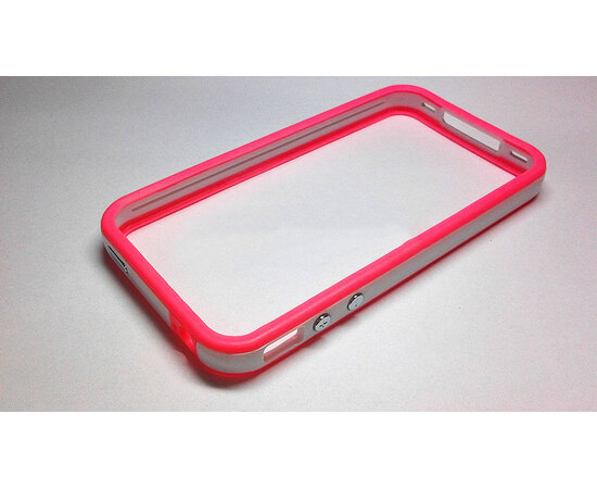 Бампер из силикона и пластика розово-белый для iPhone 4/4S