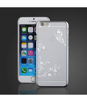 """Чехол """"Бабочка"""" пластиковый для iPhone 6 Plus/6S Plus серебряный со стразами"""