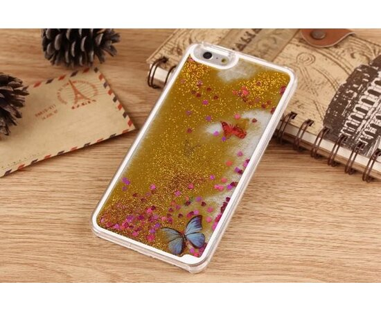 Переливающийся пластиковый чехол золотой  для iPhone 6/6S