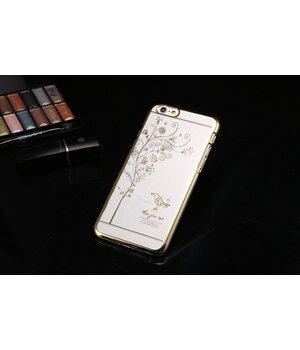 """Чехол пластиковый """"Птичка"""" со стразами золото для iPhone 6 Plus/6S Plus"""