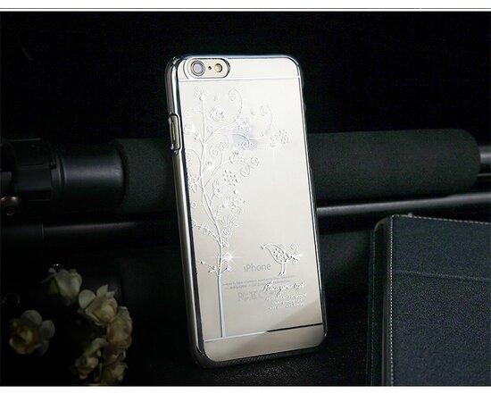"Чехол пластиковый ""Птичка"" со стразами серебро для iPhone 6 Plus/6S Plus"