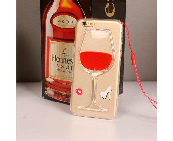"""Чехол """"Бокал"""" силиконовый для iPhone 6 Plus/6S Plus с жидкостью красный"""