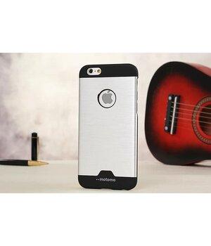 """Чехол с алюминиевой задней крышкой """"Motomo"""" пластиковый для iPhone 6 Plus/6S Plus серебряный"""