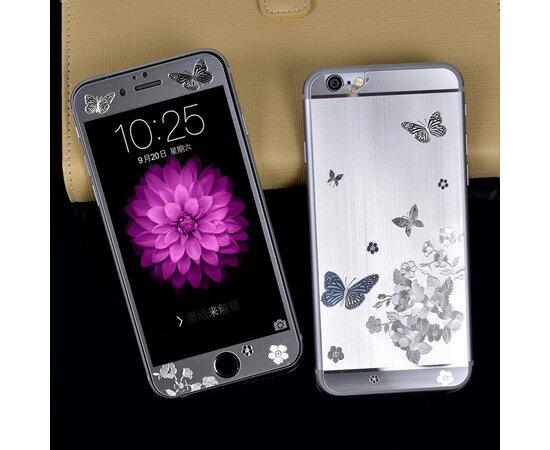 """Переднее+заднее серебряное стекло """"Бабочки"""" для iPhone 5/5S/SE"""