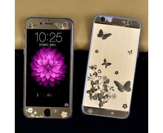 """Переднее+заднее золотое стекло """"Бабочки"""" для iPhone 6/6S"""