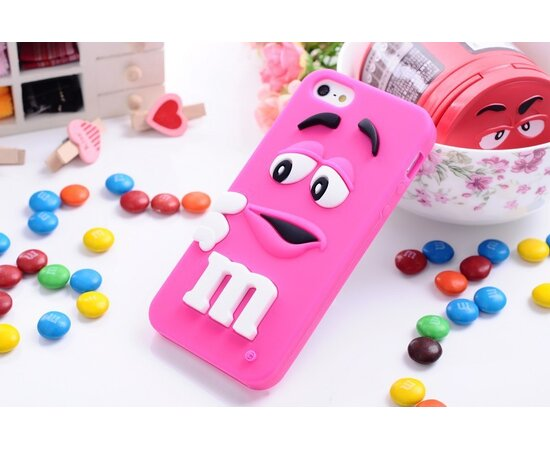 """Резиновый 3D чехол """"M&M"""" малиновый для iPhone 5/5S/SE"""