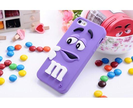 """Резиновый 3D чехол """"M&M"""" фиолетовый для iPhone 5/5S/SE"""