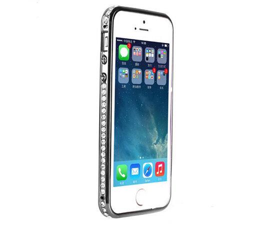 Черный пластиковый бампер со стразами для iPhone 5/5S/SE
