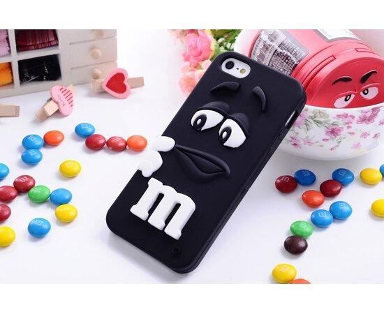 """Резиновый 3D чехол """"M&M"""" черный для iPhone 5/5S/SE"""